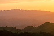 View of the Berkekey Hills at sunset as seen from Mount Diablo State Park, Contra Costa County, California