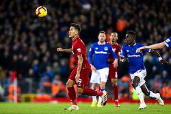Roberto Firmino of Liverpool goes past Idrissa Gueye of Everton - Mandatory by-line: Robbie Stephenson/JMP - 02/12/2018 - FOOTBALL - Anfield - Liverpool, England - Liverpool v Everton - Premier League