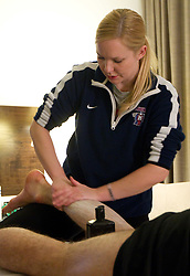 Physiotherapist Manca Marc of Slovenian National Ice Hockey team in a massage room in the hotel Holiday Inn at IIHF 2011 World Championship Slovakia, on May 4, 2011 in Bratislava, Slovakia. (Photo By Vid Ponikvar / Sportida.com)