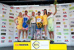 Overall second placed Rogina Radoslav (CRO) of Loborika Favorit Team, winner Ulissi Diego (ITA) of Lampre and third placed Vrecer Rober (SLO) of Perutnina Ptuj at flower ceremony after the 4th Stage  between Ptuj and Novo mesto (181 km) at 18th Tour de Slovenie 2011, on June 19, 2011, in Slovenia. (Photo by Vid Ponikvar / Sportida)