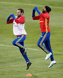 21.03.2016, Ciudad del Futbol de Las Rozas, Madrid, ESP, RFEF, Training spanische Fußballnationalmannschaft, im Bild Spain's Juan Mata (l) and Jordi Alba // during a practice session of spanish national football Team at the Ciudad del Futbol de Las Rozas in Madrid, Spain on 2016/03/21. EXPA Pictures © 2016, PhotoCredit: EXPA/ Alterphotos/ Acero<br /> <br /> *****ATTENTION - OUT of ESP, SUI*****