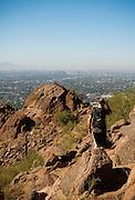 Hiking Camelback Mountain in Scottsdale, Arizona.
