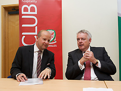 NEWPORT, WALES - Wednesday, July 4, 2012: FAW Chief Executive Jonathan Ford and First Minister Carwyn Jones at a press conference as the Football Association of Wales opens the first 3G pitch at the National Development Centre at the Newport International Sports Village. (Pic by David Rawcliffe/Propaganda)