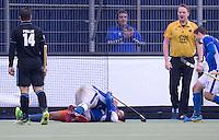 UTRECHT- Hockey - Boet Phijffer van Kampong heeft de stand op 2-1 gebracht tijdens de hoofdklasse competitiewedstrijd tussen de manne van Kampong en HGC (2-1). COPYRIGHT KOEN SUYK