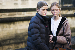 March 4, 2018 - Paris, France - Sara Grace Wallerstedt (R), wearing Coach jacket, is seen in the streets of Paris after the Valentino show during Paris Fashion Week Womenswear Fall/Winter 2018/2019 on March 4, 2018 in Paris, France. (Credit Image: © Nataliya Petrova/NurPhoto via ZUMA Press)