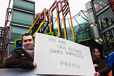 "2015-02-22 Romanians protest at Channel 4 HQ against ""Here come the Romanians"" programme."