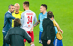 03.05.2018, Red Bull Arena, Salzburg, AUT, UEFA EL, FC Salzburg vs Olympique Marseille, Halbfinale, Rueckspiel, im Bild Trainer Marco Rose (FC Salzburg), Referee Sergei Karasev (RUS), Marin Pongracic (FC Salzburg), Lucas Ocampos (Olympique Marseille), Trainer Rudi Garcia (Olympique Marseille) // during the UEFA Europa League Semifinal, 2nd Leg Match between FC Salzburg and Olympique Marseille at the Red Bull Arena in Salzburg, Austria on 2018/05/03. EXPA Pictures © 2018, PhotoCredit: EXPA/ JFK