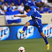 Rafael Edgardo Burgos, El Salvador, shoots during the El Salvador Vs Trinidad and Tobago CONCACAF Gold Cup group B football match at Red Bull Arena, Harrison, New Jersey. USA. 8th July 2013. Photo Tim Clayton