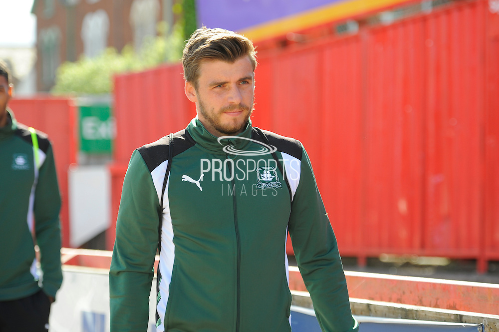 Graham Carey (10) of Plymouth Argyle arriving at St James Park before the EFL Sky Bet League 2 match between Exeter City and Plymouth Argyle at St James' Park, Exeter, England on 17 September 2016. Photo by Graham Hunt.