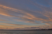 Sunrise Panorama over the Tagus River in Lisbon. Five of eight images taken with a Leica CL camera and 23 mm f/2 lens (ISO 200, 23 mm, f/8, 1/60 sec). Raw images processed with Capture One Pro and AutoPano Giga.