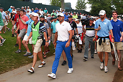 August 12, 2017 - Charlotte, North Carolina, United States - Jason Day walks the cart parth with fans after hitting out of the rough on the 18th hole during the third round of the 99th PGA Championship at Quail Hollow Club. (Credit Image: © Debby Wong via ZUMA Wire)