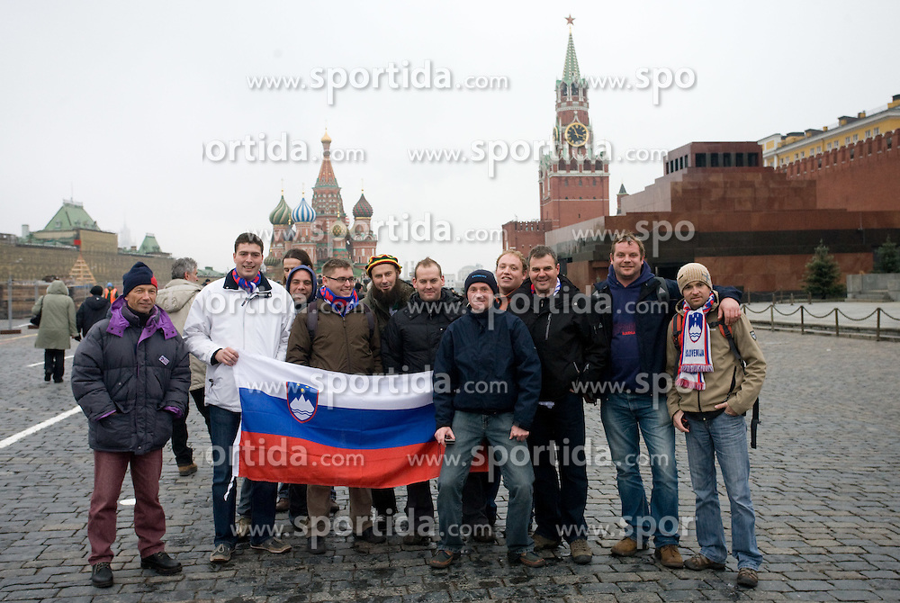 Slovenian fans in Moscow at Red Square, on November 14, 2009, Moscow, Russia.  (Photo by Vid Ponikvar / Sportida)