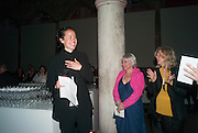 SARAH SZE; HOLLY BLOCK; CAREY LOVELACE, The Bronx Museum of the Arts, Tanya Bonakdar Gallery and the Victoria Miro Gallery host a reception and dinner in honor of Sarah Sze: Triple Point. Representing the United States of America at the 55th Biennale di Venezia with the Co  Commissioners of the  U. S. Pavilion Holly Block, Executive Director of the Bronx Museum of the arts  and Carey Lovelace. <br /> <br /> Rialto Fish market. Venice. . 29 May 2013
