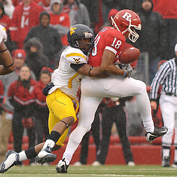 Dec 5, 2009; Piscataway, NJ, USA; Rutgers wide receiver Julian Hayes (18) drops a pass during first half NCAA Big East college football action between Rutgers and West Virginia at Rutgers Stadium.