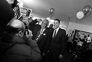 Illinois State Senator and U.S. Senate candidate Barack Obama, right, poses with U.S. Rep Danny Davis (D-Illinois) during a rally at Community Fellowship Baptist Church as campaigns on the west side of Chicago Saturday March 6, 2004. ..