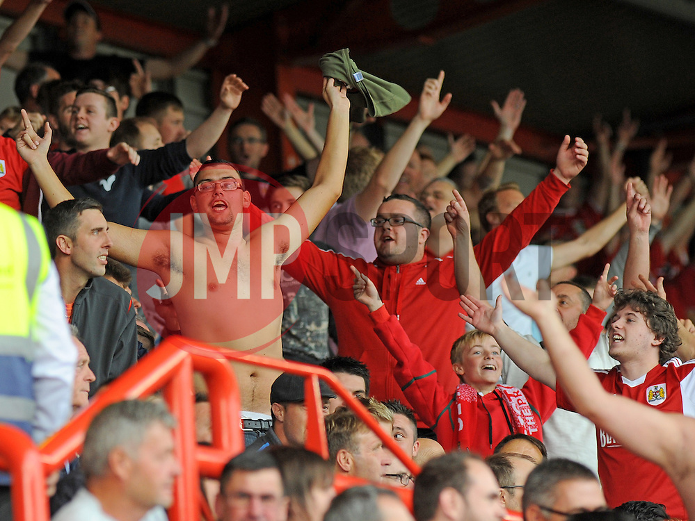 Bristol City's fans celebrate during the third goal of the match.  - Photo mandatory by-line: Nizaam Jones- Mobile: 07583 3878221 - 27/09/2014 - SPORT - Football - Bristol - Ashton Gate - Bristol City v MK Dons - Sports