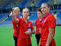 ASTANA, KAZAKHSTAN - Sunday, September 17, 2017: Wales Jessica Fishlock and Loren Dykes inspect the artificial pitch ahead of the FIFA Women's World Cup 2019 Qualifying Round Group 1 match between Kazakhstan and Wales at the Astana Arena. (Pic by David Rawcliffe/Propaganda)