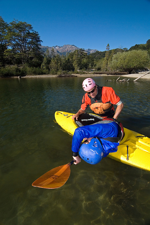 Kayak roll instruction on Chile's Rio Epsolon.