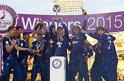 Gloucestershire's Michael Klinger lifts The Royal London One Day Trophy - Mandatory byline: Robbie Stephenson/JMP - 07966 386802 - 19/09/2015 - Cricket - Lord's Cricket Ground - London, England - Gloucestershire CCC v Surrey CCC - Royal London One-Day Cup Final