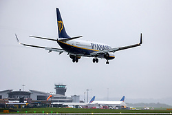 © Licensed to London News Pictures. 21/06/2020. Leeds UK. Leeds Bradford International airport has re-opened this weekend & this Ryanair flight FR1221 from Alicante landing this morning is the first to arrive at Leeds for 12 weeks. The airport has been closed to the public since the UK government and other European nations introduced strict travel restrictions and lockdowns to try and curb the spread of the coronavirus in March.Photo credit: Andrew McCaren/LNP