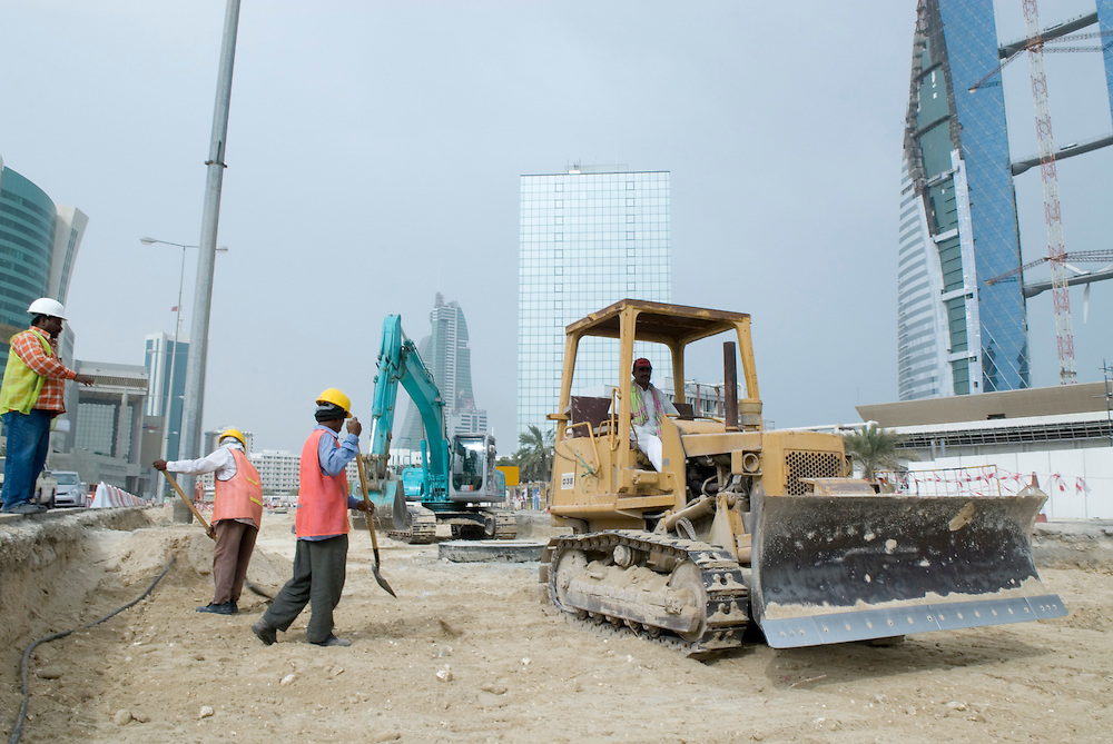 Bahrain - Manama City - construction site at the  financial district