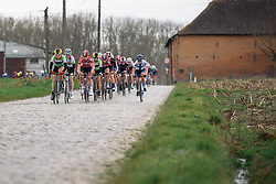 Sheyla Gutierres leads the peloton over the early cobbles - Pajot Hills Classic 2016, a 122km road race starting and finishing in Gooik, on March 30th, 2016 in Vlaams Brabant, Belgium.