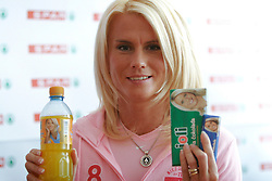 Jolanda Ceplak at press conference presenting her own Joli brand of chocolate and juice, on February 22, 2005, in Spar, Ljubljana, Slovenia. (Photo by Vid Ponikvar / Sportida)