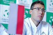 Jerzy Janowicz of Poland while press conference three days before the BNP Paribas Davis Cup 2014 between Poland and Croatia at Torwar Hall in Warsaw on April 1, 2014.<br /> <br /> Poland, Warsaw, April 1, 2014<br /> <br /> Picture also available in RAW (NEF) or TIFF format on special request.<br /> <br /> For editorial use only. Any commercial or promotional use requires permission.<br /> <br /> Mandatory credit:<br /> Photo by &copy; Adam Nurkiewicz / Mediasport