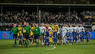 FODBOLD: Spillerne går på banen til kampen i ALKA Superligaen mellem FC Helsingør og Hobro IK den 17. november 2017 på Helsingør Stadion. Foto: Claus Birch