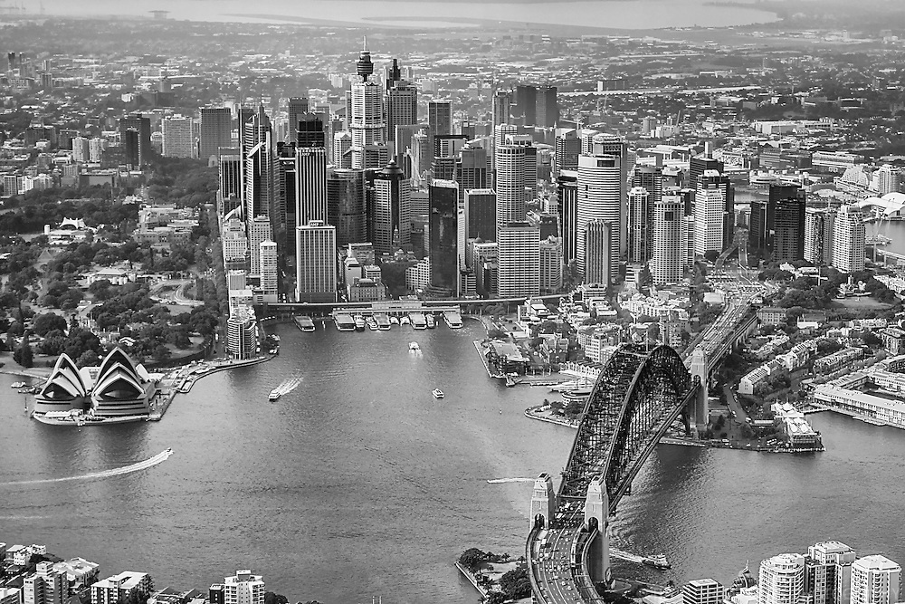 Port Jackson & City of Sydney (monochrome)