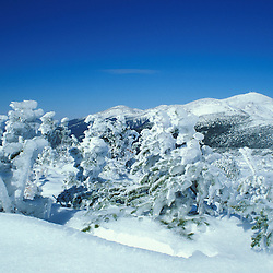 Appalachian Trail.   Mt. Washington and a sunny winter day in New Hampshire's White Mtns.  Mt. Clinton, NH