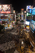 A view of the famous Shibuya crossing from the new viewing platform on top of the 109-2 building, Shibuya, Tokyo, Japan. Friday May 18th 2018