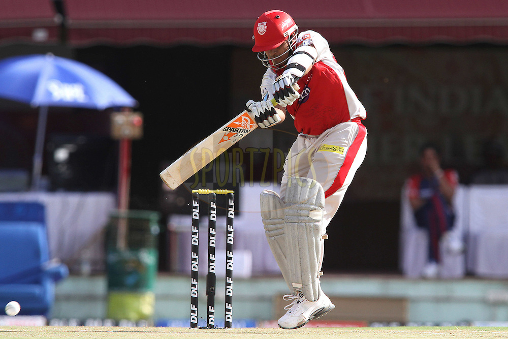 Paul Valthaty of the Kings XI Punjab cuts a delivery during match 69 of the the Indian Premier League ( IPL) 2012  between The Kings X1 Punjab and The Delhi Daredevils held at the HPCA Stadium, Dharamsala, on the 19th May 2012..Photo by Shaun Roy/IPL/SPORTZPICS
