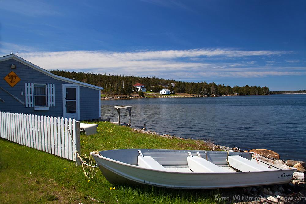 North America, Canada, Nova Scotia, Guysborough County. Waterfront boathouse;