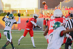 06 Sep 2014: Khalil Young is too late to stop a pass from Tre Roberson to Cameron Meredith during a non-conference NCAA football game between the Delta Devils of Mississippi Valley State and the Redbirds of Illinois State at Hancock Stadium in Normal Il
