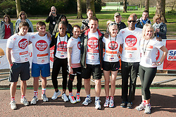 Eastenders actors Tony Discipline and Matt Lapinskas, former spice girl Mel C, Nell McAndrew, Ed Moses and Nicki Chapman taking part in a one mile run for Sport Relief charity in London, 25th March 2012.  Photo by: i-Images