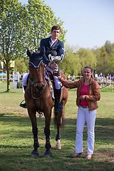 Philippaerts Nicola (BEL) - Cortez <br /> Winner of the Grand Prix of Lummen receiving the Cup from Messina Postelmans (Organising committee)<br /> CSIO Lummen 2013<br /> © Dirk Caremans