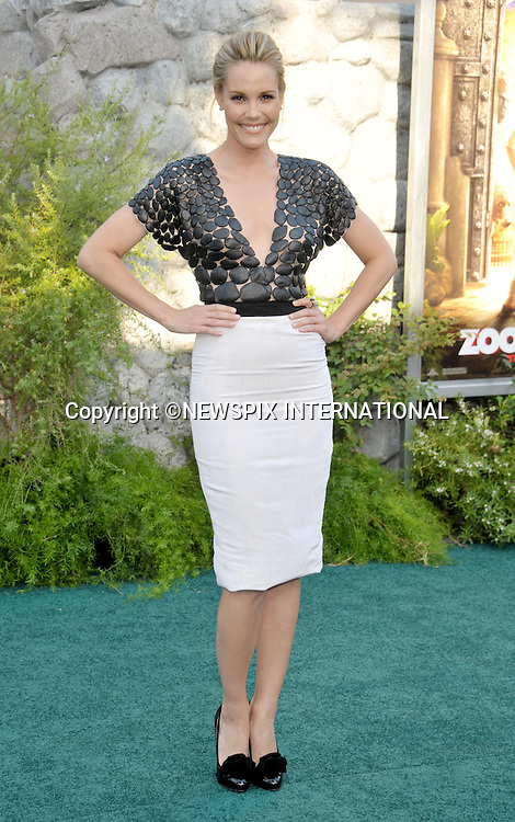 """LESLIE BIBB.arrives at the World Premiere of """"Zookeeper"""" at the Regency Village Theatre in Westwood, California. WESTWOOD, Los Angeles, California_06/07/2011.Mandatory Photo Credit: ©Crosby/Newspix International. .**ALL FEES PAYABLE TO: """"NEWSPIX INTERNATIONAL""""**..PHOTO CREDIT MANDATORY!!: NEWSPIX INTERNATIONAL(Failure to credit will incur a surcharge of 100% of reproduction fees).IMMEDIATE CONFIRMATION OF USAGE REQUIRED:.Newspix International, 31 Chinnery Hill, Bishop's Stortford, ENGLAND CM23 3PS.Tel:+441279 324672  ; Fax: +441279656877.Mobile:  0777568 1153.e-mail: info@newspixinternational.co.uk"""