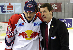 Philipp Pinter and coach Pierre Page after the sixth game of the Final of EBEL league (Erste Bank Eishockey Liga) between ZM Olimpija vs EC Red Bull Salzburg,  on March 25, 2008 in Arena Tivoli, Ljubljana, Slovenia. Red Bull Salzburg won the game 3:2 and series 4:2 and became the Champions of EBEL league 2007/2008.  (Photo by Vid Ponikvar / Sportal Images)..