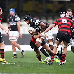 DURBAN, SOUTH AFRICA, 12 August, 2016 -  Jeremy Ward (C) of the EP Kings 21's tackling Hyron Andrews of the Cell C Sharks Under 21's during the match between The Cell C Sharks U21 and EP U21 Currie Cup Under 19 Competition at Growthpoint Kings Park in Durban, South Africa. (Photo by Steve Haag)<br /> <br /> images for social media must have consent from Steve Haag