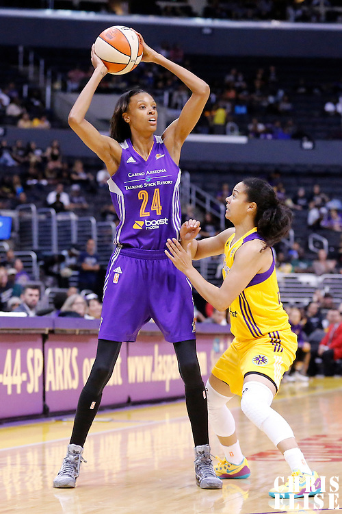 18 May 2014: Phoenix Mercury guard/forward DeWanna Bonner (24) looks to pass the ball during the Phoenix Mercury 74-69 victory over the Los Angeles Sparks, at the Staples Center, Los Angeles, California, USA.