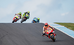 October 23, 2016 - Melbourne, Victoria, Australia - Spanish rider Marc Marquez (#93) of Repsol Honda Team leads a pack of riders during the MotoGP category race at the 2016 Australian MotoGP held at Phillip Island, Australia. (Credit Image: © Theo Karanikos via ZUMA Wire)