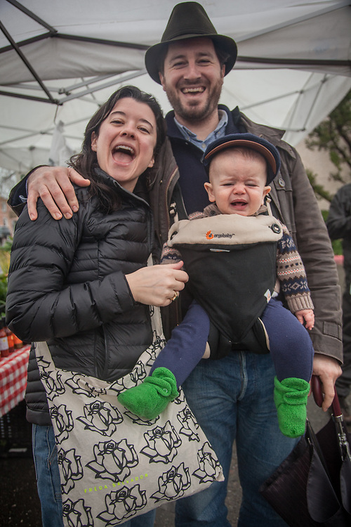 Erin and Massimo Di Costanzo and their son, Luciano, at the Saturday Market in Calistoga  massimo@mdcwines.com