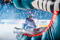 KELOWNA, CANADA - FEBRUARY 9: Jake Morrissey #31 of Kelowna Rockets enters the ice against the Prince George Cougars on February 9, 2015 at Prospera Place in Kelowna, British Columbia, Canada.  (Photo by Marissa Baecker/Shoot the Breeze)  *** Local Caption *** Jake Morrissey;