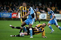 Photo: Pete Lorence.<br />Boston United v Wycombe Wanderers. Coca Cola League 2. 28/10/2006.<br />Boston's Tim Ryan (R) slides in on Kevin Betsy.
