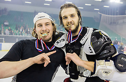 Tomaz Trelc Olimpija and Gal Koren of Olimpija celebrate after they became Slovenian National Champion 2016 after winning during ice hockey match between HDD Telemach Olimpija and HDD SIJ Acroni Jesenice in Final of Slovenian League 2015/16, on April 11, 2016 in Hala Tivoli, Ljubljana, Slovenia. Photo by Vid Ponikvar / Sportida