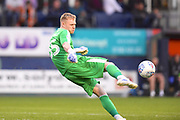 AFC Wimbledon goalkeeper Aaron Ramsdale clears the ball in the first half during the EFL Sky Bet League 1 match between Luton Town and AFC Wimbledon at Kenilworth Road, Luton, England on 23 April 2019.