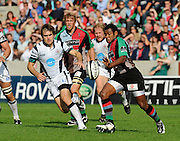 Twickenham, GREAT BRITAIN, Waisea LUVENIYALI, kicking clear, as Adrian DAVIES moves in, during the Guinness Premiership match,  Harlequins vs Bristol Rugby, at The Stoop Stadium, Surrey on Sat 13.09.2008. [Photo, Peter Spurrier/Intersport-images]
