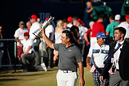 Francesco Molinari<br /> after winning on the 18th and getting ready to be presented with the trophy claret jug<br /> The 147th Open Championship, Carnoustie<br /> Final day 2018