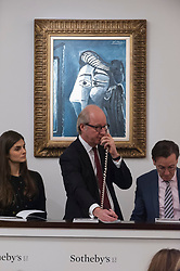 © Licensed to London News Pictures. 28/02/2018. LONDON, UK. ''Tête De Femme'' by Pablo Picasso, (Est. £5-7m) sold for a hammer price of £5.5m at the evening sale of Modern, Surrealist and Contemporary art at Sotheby's in New Bond Street.  Photo credit: Stephen Chung/LNP